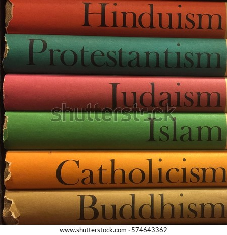 Shutterstock Stack of colorful books of different religions: Islam, Catholicism, Buddhism, Judaism, Protestantism, Hinduism