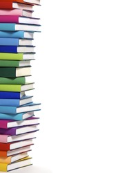 Stack of colorful real books on white background, partial view.