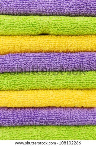 Stack of colorfull towels closeup