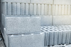 Stack of Concrete Blocks for construction, Background and Texture with Selective Focus