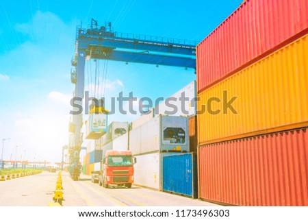 Stack of containers box, Cargo freight ship for import export lo #1173496303