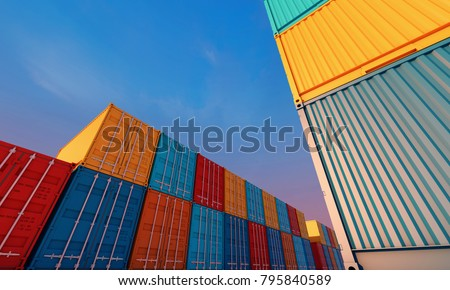 Stack of containers box, Cargo freight ship for import export logistics business