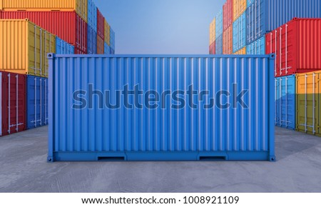 Stack of containers box, Cargo freight ship for import export logistics business, 3d rendering