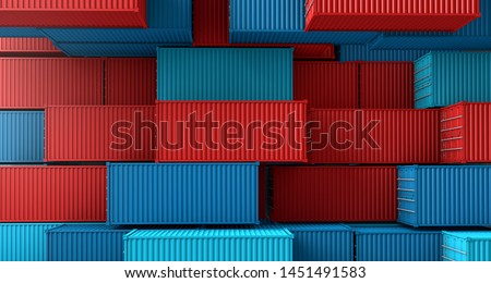 Stack of containers box, Cargo freight ship on top view, 3D rendering