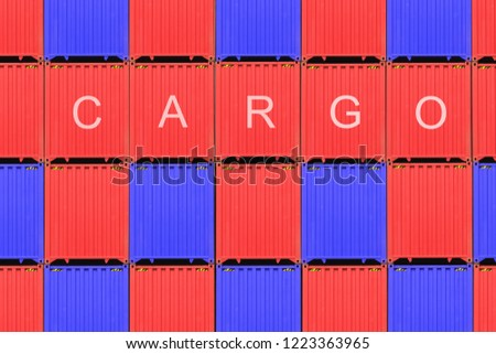 Stack of containers in a harbor, Containers box from cargo freight ship for import export, Logistic concept