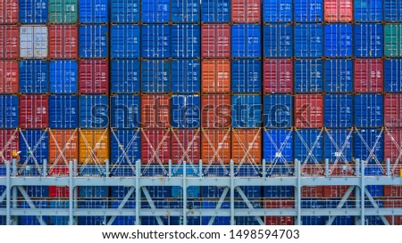 Stack of containers texture and background, container ship at deep sea port, Freight shipping containers.