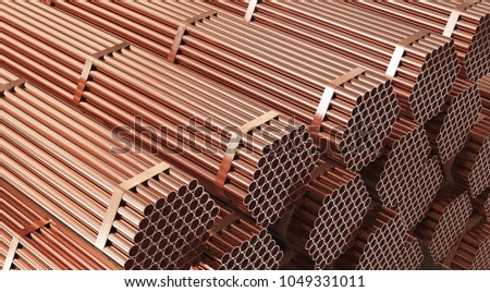 Stack of copper pipes in warehouse. Rolled metal products. 3d illustration.