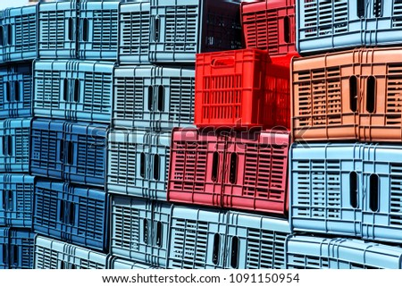 Stack of crates. Abstract background #1091150954