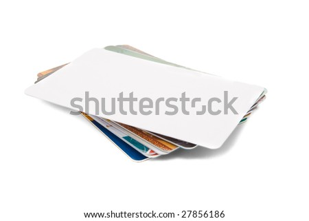 Stack of credit card isolated on white