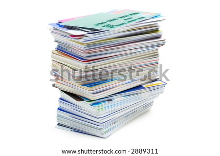 stack of credit cards on a white background with pretty shadow