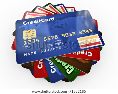 Stack of credit cards on white isolated backgrond. 3d