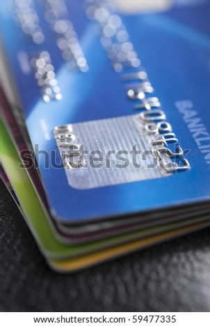 Stack of credit cards with shallow DOF