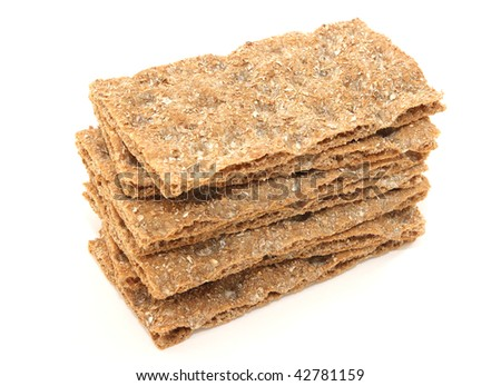 Stack of crisp hard bread - specific Swedish and German healthy crispy bread