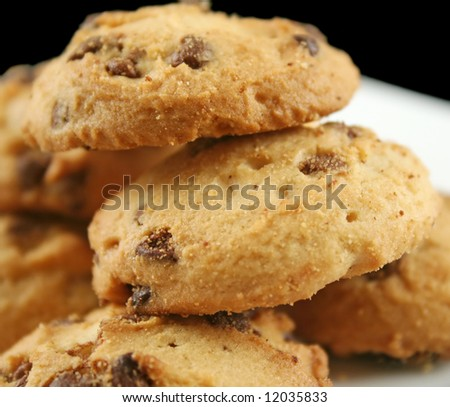 Stack of crunchy chocolate chip cookies ready to go.