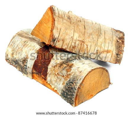 Stack of cut logs fire wood from Silver Birch tree (Betula pendula). Renewable resource of a energy. Environmental concept.