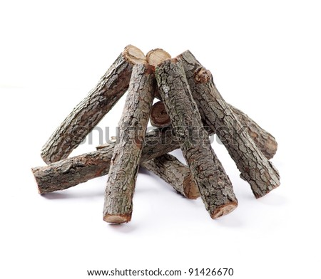 stack of cut logs fire wood isolated over white background