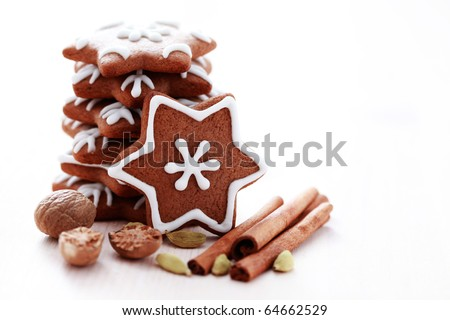 stack of delicious Christmas gingerbreads stars  - sweet food - stock photo