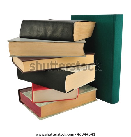 Stack of different books isolated on white. - stock photo