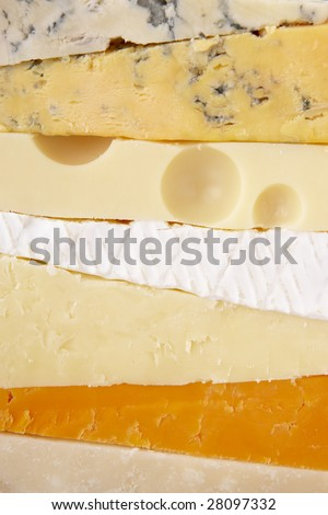 Stack Of Different Cheeses