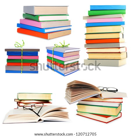 Stack of different color books isolated on white collage