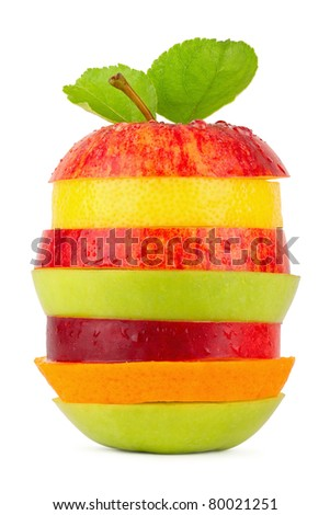 stack of different fruit slices on white background - stock photo