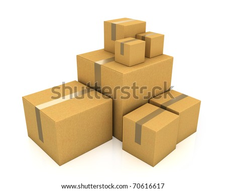 Stack of different sized carton boxes isolated on white