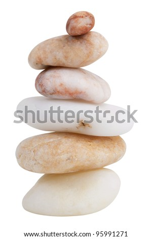 Stack of different smooth river stones on a white background