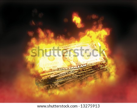 stack of dollar bills on fire