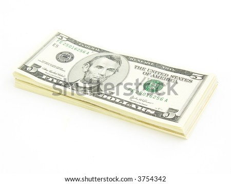 Stack of 5 Dollars Bills U.S