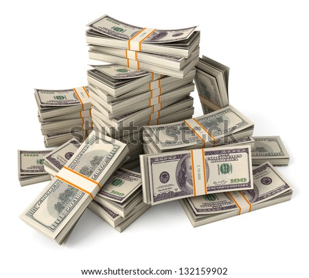 Stack of dollars. Conceptual illustration. Isolated on white background. 3d render