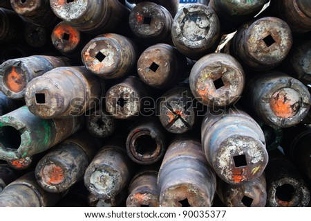 Stack of Drillpipe on Oil Rig Pipe Deck