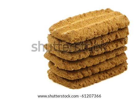 "stack of Dutch cookies called ""Bastogne koek"" on a white background"