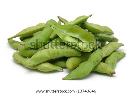 Stack of edamame (green soybean) in isolated white background