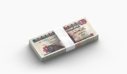 Stack of Egyptian Banknotes of 100 Bills on white background