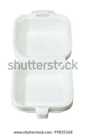 Stack of Empty Styrofoam Takeaway Boxes on White Background