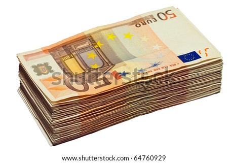 Stack of 50 euro bills, isolated on white background, (clipping path included)