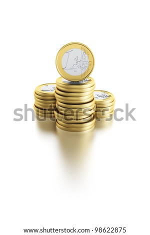 stack of euro coins, isolated 3d render