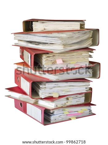 stack of file folders, isolated on white background