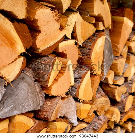 Stack of fire wood from a farm house.