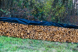 Stack of firewood covered with a flat, weatherproof cover on meadow