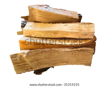 stack of firewood  logs for the stove isolated over white background
