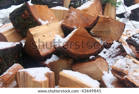 Stack of Firewood Outside in the Snow