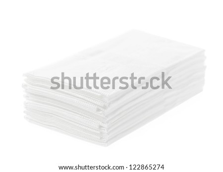 Stack of folded disposable tissue papers on white background
