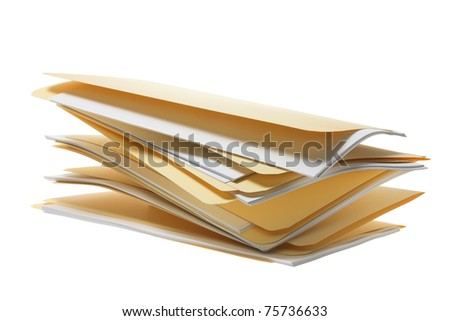 Stack of Folders in White Background