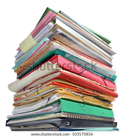 Stack of folders isolated on white background