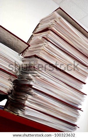 Stack of folders on a table