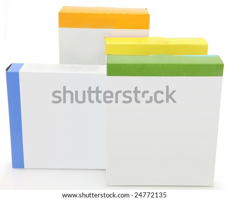 Stack of food boxes with blank labels for adding text.