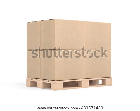 Stack of Four cardboard boxes mockup on euro pallet in white sudio, 3d rendering