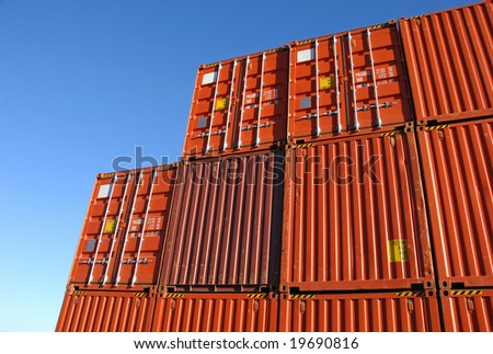 Stack of freight containers in the harbor