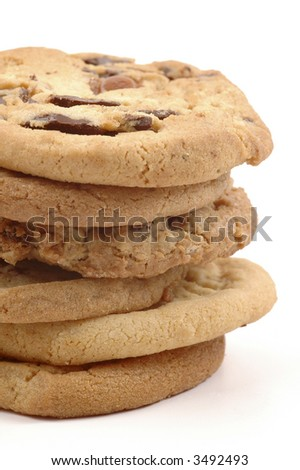 Stack of fresh baked cookies isolated on a white background.